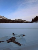 Enjoying the sun on a frozen lake