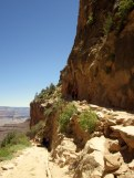 Starting the hike down the Bright Angel trail - in the middle of the day and it's probably 90-100 degrees.