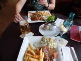 Dinner in Kassel - jagerschnitzel, salad, and fries